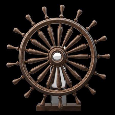 Brown wooden steering-wheel isolated on black background High resolution 3d render  photo