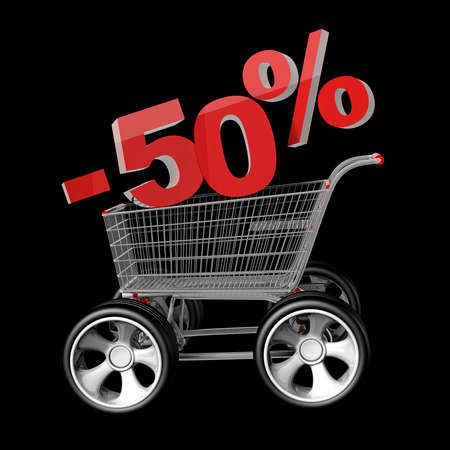 Concept SALE discount percent. shopping cart with big car wheel High resolution 3d render  photo
