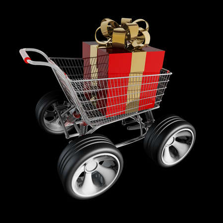 big wheel: Concept SALE. shopping cart with big car wheel and RED christmas gift box isolated on black background High resolution 3d render