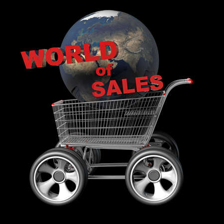Concept world of SALES. Shopping trolley and earth globe with big car wheel  photo