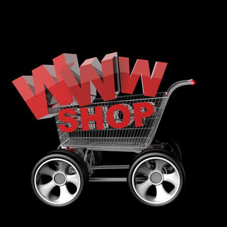 Concept WWW SHOP. shopping cart with big car wheel High resolution 3d render  photo