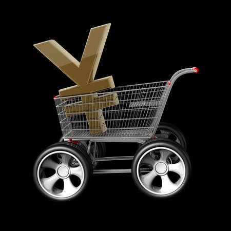 japanese yen: 3d Concept Japanese yen SALE. shopping cart with big car wheel isolated on black background High resolution  Stock Photo