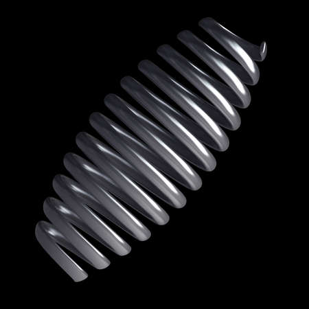 spiralling: 3d render of chrome spring isolated on black background High resolution  Stock Photo