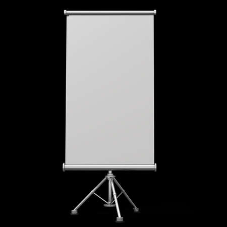 slideshow: Blank projection screen with tripod isolated on black background High resolution 3d render