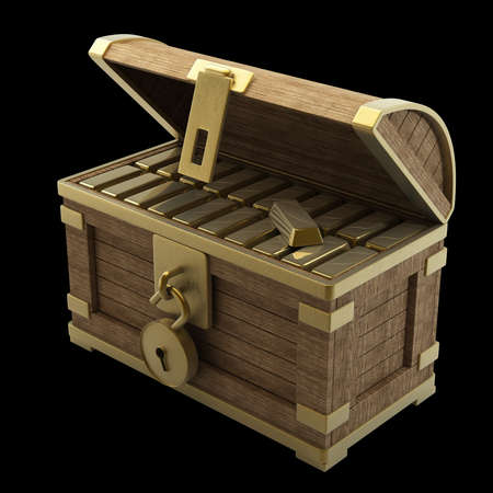 coffer: vintage wooden chest with gold isolated on a black background high resolution 3d render  Stock Photo