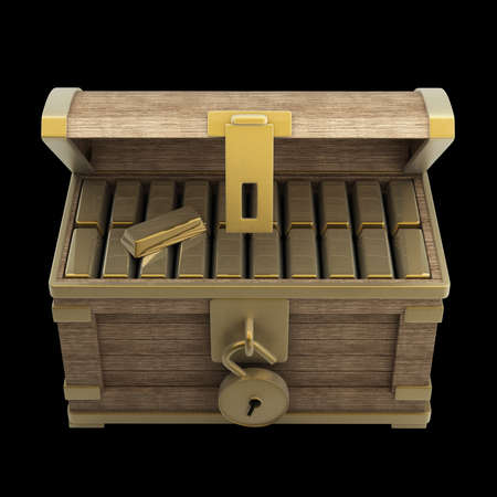 booty: vintage wooden chest with gold isolated on a black background high resolution 3d render  Stock Photo