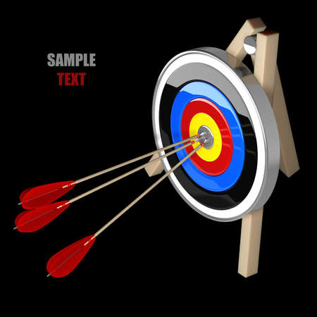precisely: Target isolated on black background high resolution 3d illustration