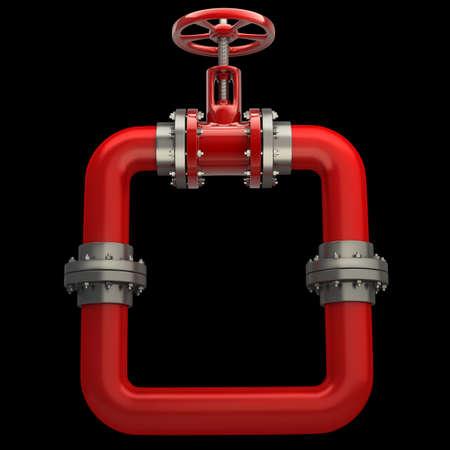 Pipeline robinet isolé sur fond noir 3D de haute résolution Banque d'images - 18770441