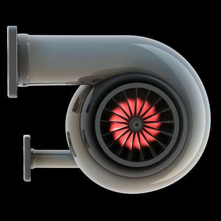 air flow: steel turbocharger isolated on a black background. High resolution 3d render  Stock Photo