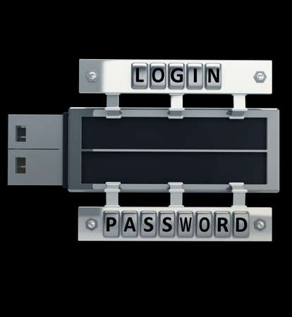 CONCEPT. Secure usb key device with password and login isolated on black background High resolution 3d render Stock Photo - 18771375