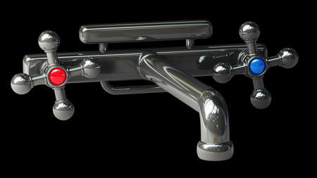 Shining chrome faucet, isolated against a black background High resolution 3D  photo