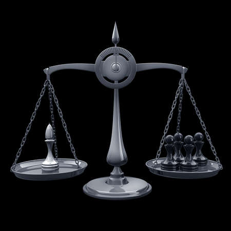 high scale: value of chessmen Scale officer vs pawn isolated on black background High resolution 3d render  Stock Photo