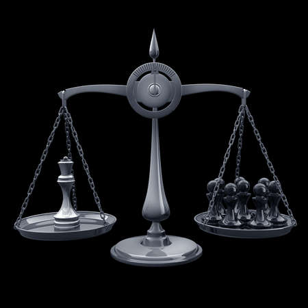 high scale: value of chessmen Scale Queen vs pawn isolated on black background High resolution 3d render