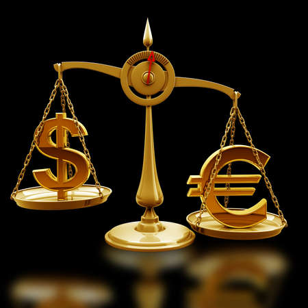 high scale: Golden Scale with symbols of currencies Euro vs US dollar isolated on black background High resolution 3d render  Stock Photo