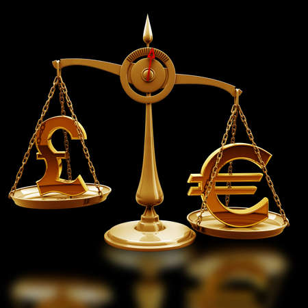high scale: Golden Scale with symbols of currencies Euro vs British pound isolated on black background High resolution 3d render  Stock Photo