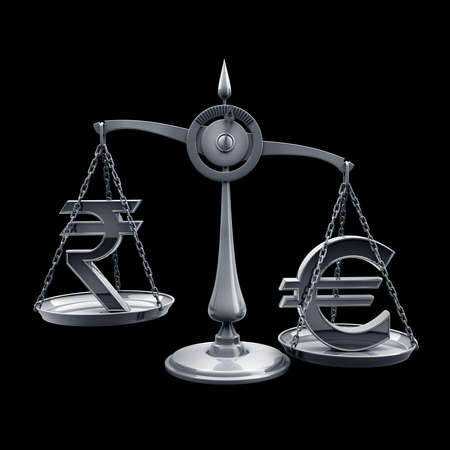 high scale: Scale with symbols of currencies r isolated on black background High resolution 3d render  Stock Photo