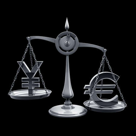 Scale with symbols of currencies r isolated on black background High resolution 3d render  photo