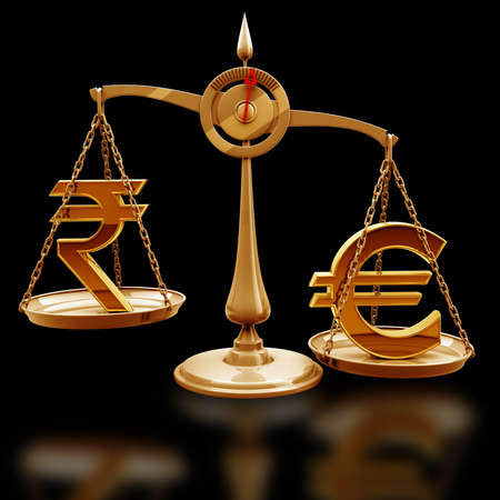 high scale: Golden Scale with symbols of currencies Euro vs Indian rupee isolated on black background High resolution 3d render  Stock Photo