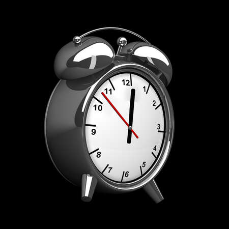 alarmclock: Old-fashioned alarm clock isolated on a black background. High resolution. 3D image