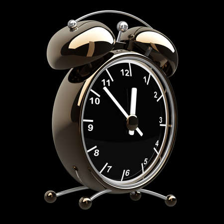 Alarm Golden clock isolated on a black background. High resolution 3d render  photo