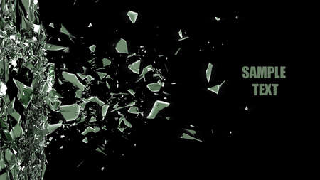 vidrio roto: Fondo de cristal quebrado aislado en negro. 3d de alta resolución