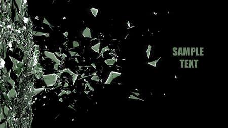 gebroken glas achtergrond geïsoleerd op zwart. Hoge resolutie 3d render