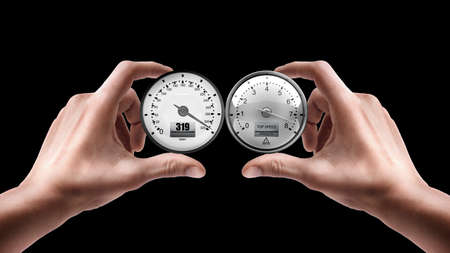 Adult male hands holding External tachometer isolated on black background  photo