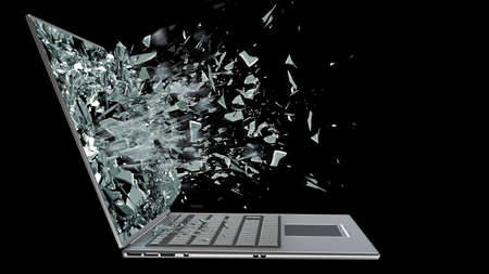 broken computer: laptop with broken screen isolated on black background