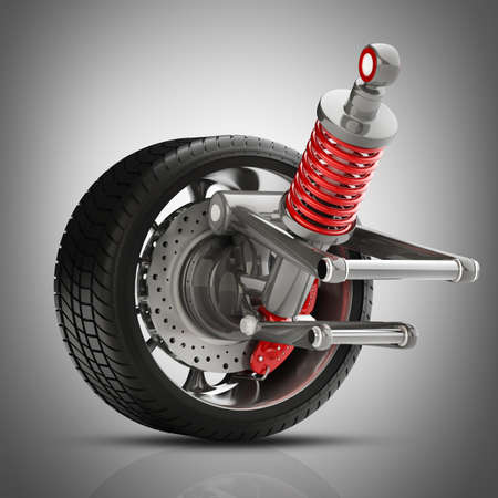 aluminum wheels: Wheel, shock absorber and brake pads. High resolution 3d render