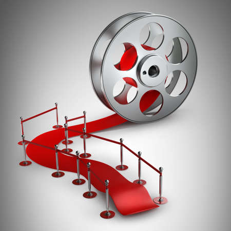 rollo pelicula: Concepto de premio. Rollo de película de cine y la alfombra roja. Ilustración 3D. alta resolución Foto de archivo