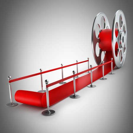Award concept. Cinema film roll and red carpet. 3d illustration. high resolution Stock Illustration - 22188196