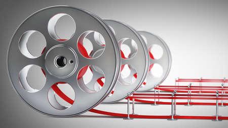 Award concept. Cinema film roll and red carpet. 3d illustration. high resolution Stock Illustration - 22188198