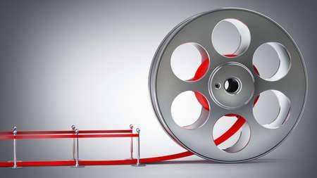 Award concept. Cinema film roll and red carpet. 3d illustration. high resolution  Stock Illustration - 22188200