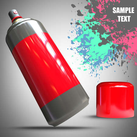 aerosol can: Spray can and Paint splat. High resolution 3D render