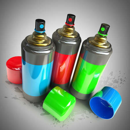 color spray cans High resolution 3d render  photo
