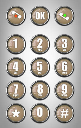 Telephone contact number button 3d illustration
