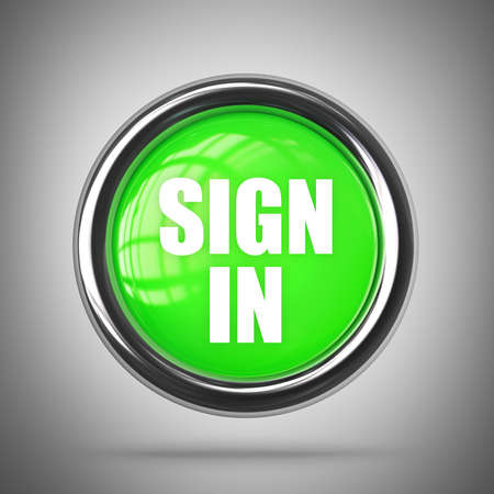 SIGN IN green button. High resolution 3d render  photo