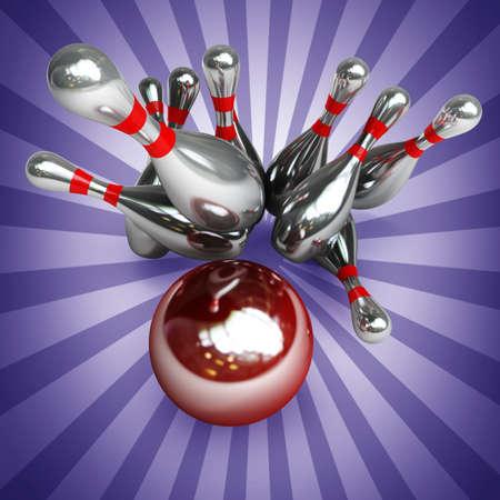 skittles: 3d Bowling Ball crashing into the pins. High resolution