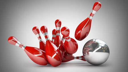 high resolution: 3d Bowling Ball crashing into the pins. High resolution