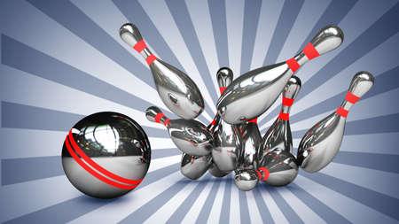 crashing: 3d Bowling Ball crashing into the pins. High resolution