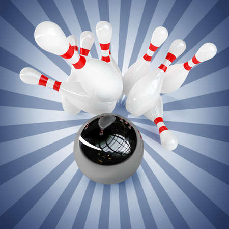 bowling alley: 3d Bowling Ball crashing into the pins. High resolution
