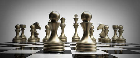 preferment: golden chess pawns background 3d illustration. high resolution