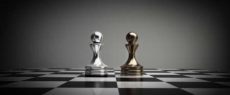 golden chess pawns background 3d illustration. high resolution  illustration