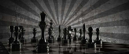 Chess background - checkmate. High resolution 3D render  photo