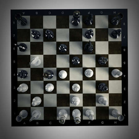chess game: Chess background - checkmate. High resolution 3D render  Stock Photo