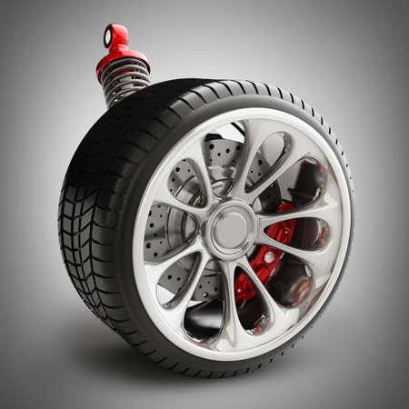 brake pad: Wheel, shock absorber and brake pads. High resolution 3d render