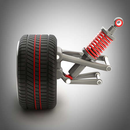Wheel, shock absorber and brake pads. High resolution 3d render  photo