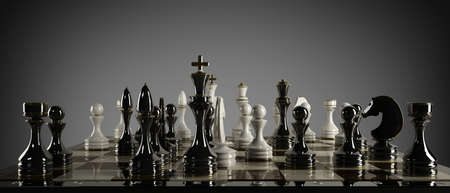 Chess concept image - checkmate. High resolution 3D render  photo