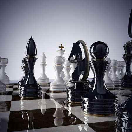 Chess background - checkmate. High resolution 3D render  Stock Photo