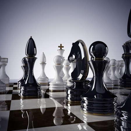 Schaken achtergrond - schaakmat. Hoge resolutie 3D render Stockfoto